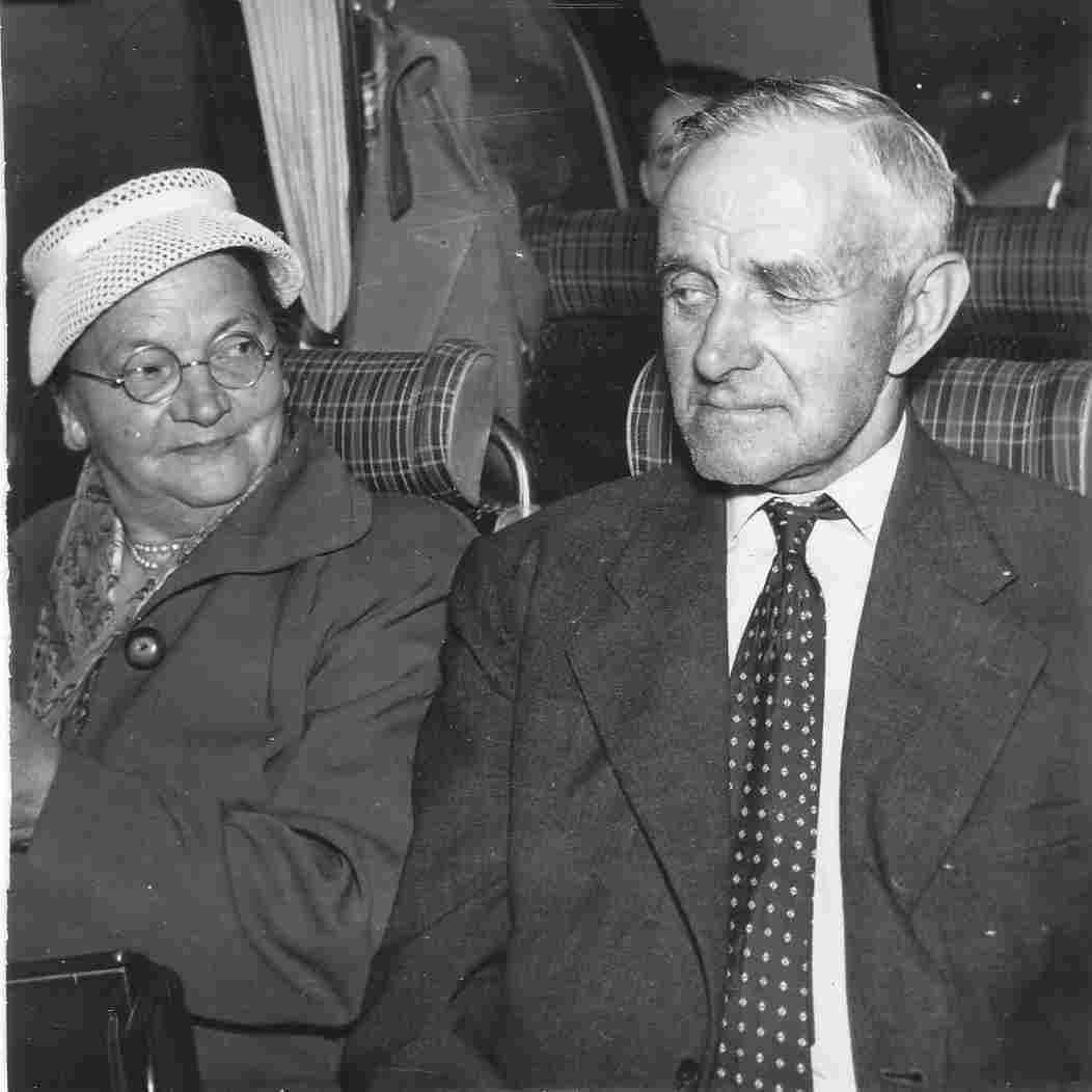 Äldre par på tåget.